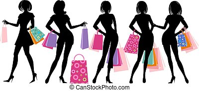 shopping - Silhouette of shopping girl