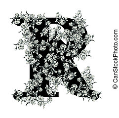 """Letter """"R"""". - Luxuriously illustrated old capital letter R..."""