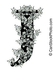 """Letter """"J"""". - Luxuriously illustrated old capital letter J..."""