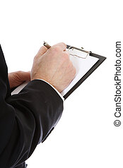 Stocktaking - Middle-aged man writing on clipboard. All on...