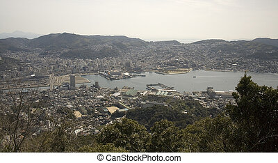 Nagasaki Japan - An aerial view of the city and harbor of...