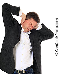 Noise - Attractive middle-aged man suffering from headache...