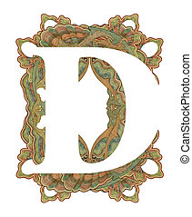 "Letter ""D"". - Luxuriously illustrated old capital letter D ."