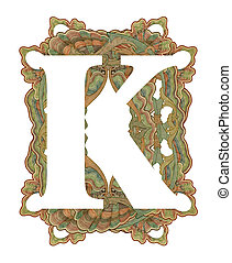 "Letter ""K"". - Luxuriously illustrated old capital letter K ."