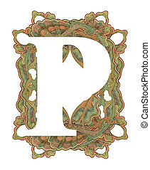 """Letter """"P"""". - Luxuriously illustrated old capital letter P ."""