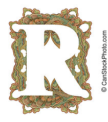 "Letter ""R"". - Luxuriously illustrated old capital letter R ."