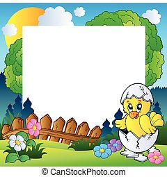 Easter frame with cute chicken - vector illustration.