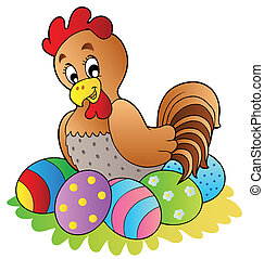 Cartoon hen with Easter eggs - vector illustration.