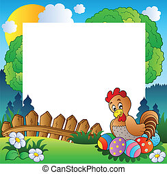 Easter frame with hen and eggs - vector illustration.