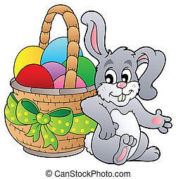 Basket with Easter eggs and bunny - vector illustration