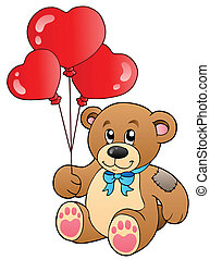 Cute teddy bear with balloons - vector illustration.