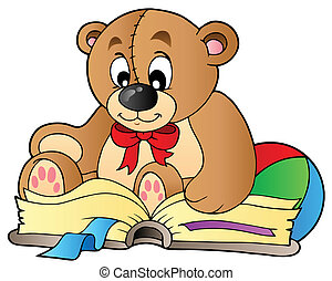 Cute teddy bear reading book - vector illustration