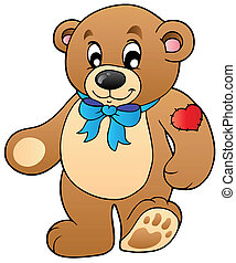 Cute standing teddy bear - vector illustration.