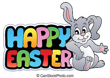 Happy Easter sign with happy bunny - vector illustration.