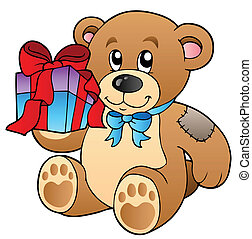 Cute teddy bear with gift - vector illustration