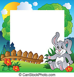 Easter frame with happy bunny - vector illustration.