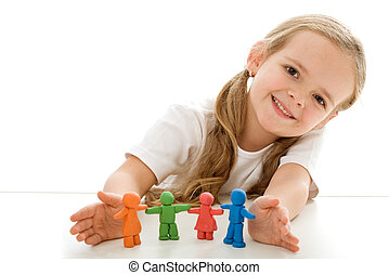 Little girl with colored clay figurines - happy family...