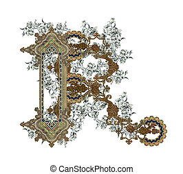 Letter R - Luxuriously illustrated old capital letter R with...