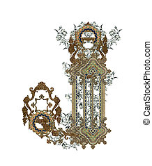Letter J. - Luxuriously illustrated old capital letter J...