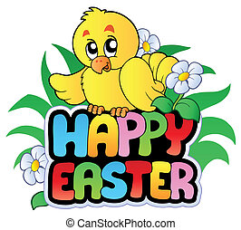Happy Easter sign with chicken - vector illustration.