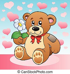 Teddy bear with flower and hearts - vector illustration.