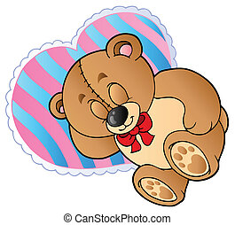 Teddy bear on heart shaped pillow - vector illustration