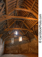 Tithe barn - Interior of a medieval tithe barn in the...