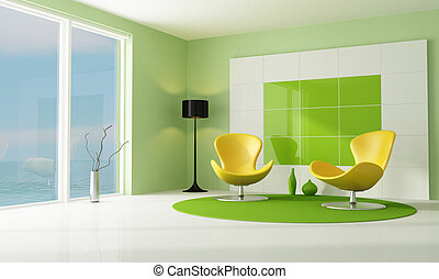 contemporary green and white lounge