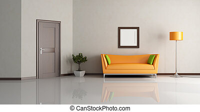 modern living room with orange couch and wooden door -...