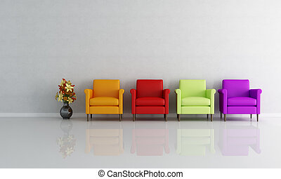 four colored armchair in a empty living room - rendering