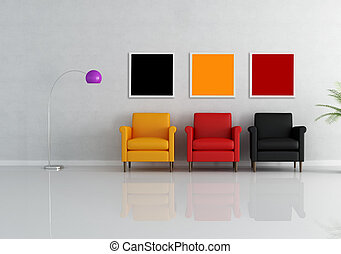 three armchair - three colored armchair in a minimalist...