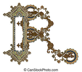 """Letter """"R"""". - Luxuriously illustrated old capital letter..."""