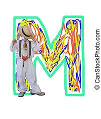 """Letter M. Font """"Maxim""""."""