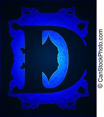 """Letter """"D"""". - Neon capital letter D."""