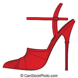 bonito, mulher, sapatos