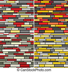 Seamless walls pattern - Collection of four seamless...