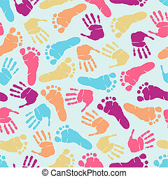 Hand print seamless pattern - Hand and footprint seamless...