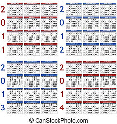 2011-2014 calendar templates - Four classic calendar...