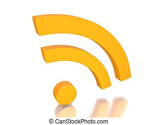 rss news feed symbol in 3D on white background
