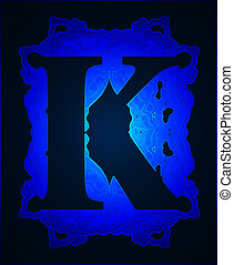 """Letter """"K"""". - Neon capital letter K."""