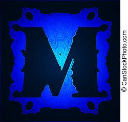 """Letter """"M"""". - Neon capital letter M."""