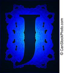 """Letter """"J"""". - Neon capital letter J."""