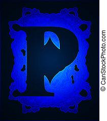 """Letter """"P"""". - Neon capital letter P."""