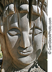Wood Carving Faces of Women