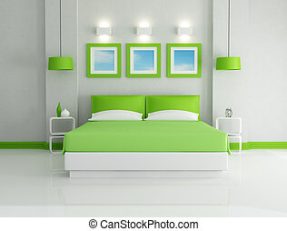 green bedroom - modern bright green bedroom - rendering -...