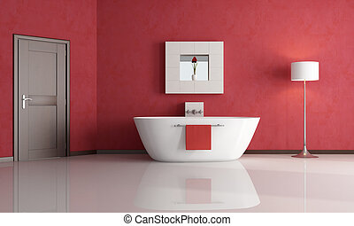 red bathroom - elegant minimalist red bathroom - rendering