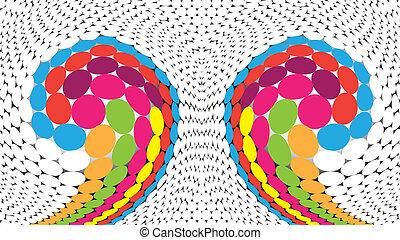 Circle Mosaic - Intertwined colored circles Abstract mosaic...
