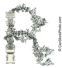 "Letter ""R"". - Luxuriously illustrated old capital letter R."