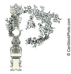 """Letter """"P"""". - Luxuriously illustrated old capital letter P."""