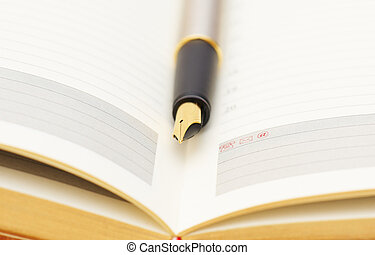 Opened lined diary with a gold  pen inside
